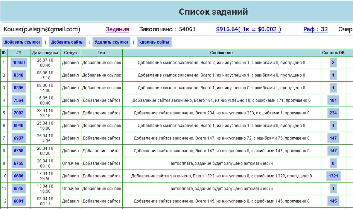 SitePumper - добавление сайтов в индекс