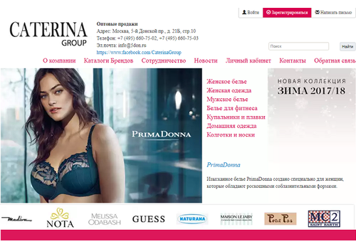 Пример 1 : Портал для оптовых клиентов Caterina Group