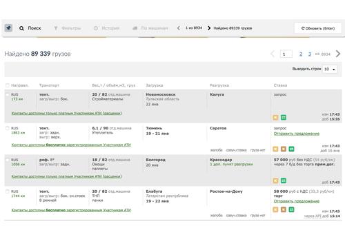 Пример 4 : Парсинг данных с сайта ati.su